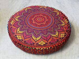 Ombre Multi Floor Decor Pillow Cushion Indian Mandala Pouf Seating Round Cover
