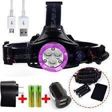 CREE 3X T6 LED 80000 LM Headlamp 4 Modes Flashlight 3 Red Light 18650 Charger PK