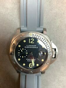 Panerai Luminor Submersible 44mm PAM 25 Titanium with Black Hobnail Dial Watch