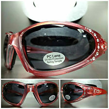 Women' MOTORCYCLE BIKER Day RIDING PADDED SUN GLASSES GOGGLES Crystal Pink Frame