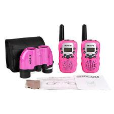 Pink Retevis Rt388 Walkie Talkie Two-Way Radios+8x21 Porro Binoculars for Kids
