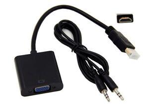 Conversor Cable Adaptador de HDMI Macho a VGA Hembra HDMI to VGA 1080p CON AUDIO