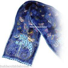 Laurel Burch Silk Neck SCARF Indigo Blue Cats Butterflies Sequins Beads Wrap New