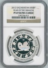 2012 Kazakhstan Silver 500T Year of Dragon Proof Coin NGC PF69