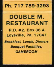 LOYSVILLE PA Double M Restaurant Vintage Advertising Match Book Cover Old MB