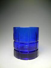 Anchor Hocking TARTAN PLAID Cobalt Blue Old Fashion Rocks Glasses 10 oz.