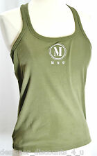 NEW MNG Mango Sexy Cami Tank Top Shirt olive silver scoop neck racer back SZ S M