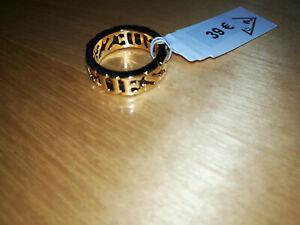 GOLDENER GUESS RING (2x Schriftzug) für Damen - Gr. 52 (16,5 mm) ***NEU***