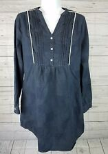 Linear B by Chi Leung Tunic Dress Sz 2 Blue Long Sleeve PP