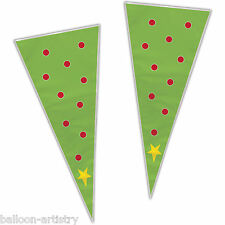 20 Christmas Party FESTIVE TREE Loot Gift Treat Plastic Cellophane Cone Bags