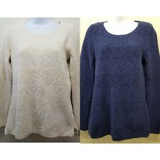 L Bean SMALL Cream Blue Sweater Long Sleeve Knit Fisherman Chunky Cozy