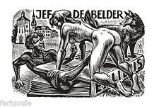 EX-LIBRIS de Frank-Ivo VAN DAMME pour Jef  DE BELDER.