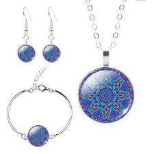 Silver Bohemian Mandala Cabochon Pendant Necklace Bracelet Earrings Set Blue