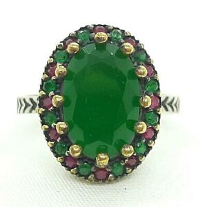 Deco 3.80ctw Emerald & Ruby 14K Yellow Gold 925 Sterling Silver Ring Size 9