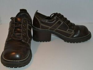 Vintage Brown Faux Leather Platform Shoes / Emergency Exit Oxford Shoes Size 8