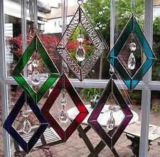 Stained Glass Diamond Shaped Suncatcher With Crystals, Hand Made in England