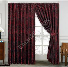 Luxurious Quality Jacquard Window Curtains Multiple Colours With Tie Backs