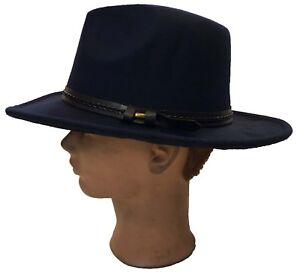 Outback Ranger Aussie Felt Western Cowboy Fedora Dress Bucket Navy Blue  Hat Cap