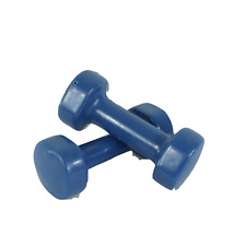Vintage Pair of 5lb Dumbbells Weights 10lbs Total Rubber Coated Blue Weight Set