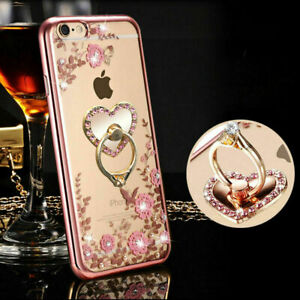 For Samsung S20 Plus S10 S9 S8 S7 S6 Diamond Flower Ring Holder Soft Case Cover
