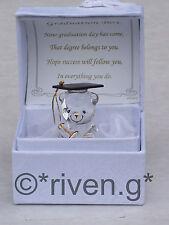 GRADUATION Gift Keepsake Crystal GLASS TEDDY BEAR@Poem Box Graduation PRESENT