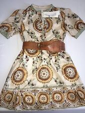 ❤️HANII Y❤️Rare BNWT��LUXE Designer Silk Dress Boho Floral Geo Romantic Classy