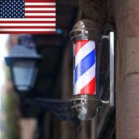75cm 30'' Barber Shop Pole Red White Blue Rotating Light Stripes Sign Salon