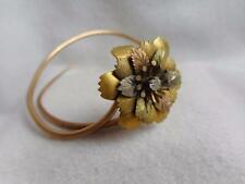 VICTORIAN TRI COLOR GOLD FILLED & PASTE STONE FLOWER HATPIN WRAP BANGLE BRACELET