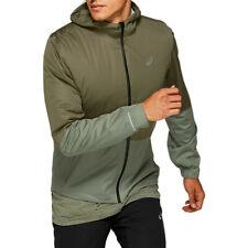 Asics Mens Winter Accelerate Running Jacket Top Green Sports Full Zip Hooded