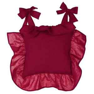Stuhlkissen Kissen Bezug bordeaux rot Volant Shabby Landhaus Blanc Mariclo