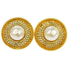 """Authentic CHANEL Vintage CC Logos Imitation Pearl Earrings Clip-On 1.2 """" V04504"""