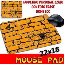 Tappetino Mouse Pad Collezione Halloween Muro con Ragno e Ragnatela Arancione
