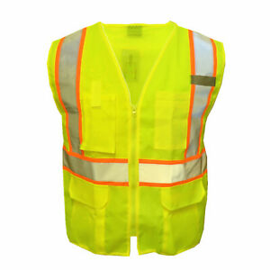 Safety Work Hi Vis ANSI Class 2 Reflective Tape Vest High Visibility W/Pockets