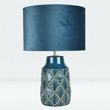 Moderna Lámpara De Mesa Cerámica Teal Mesita de noche luz de 46cm con pantalla de terciopelo verde azulado