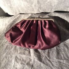 Brown Evening Satin Cocktail Clutch Bag with Gold 2 snap opening