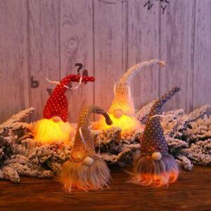 LED Light Christmas Swedish Gnome Santa Plush Doll Ornament Xmas Home Decor Gift