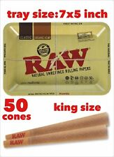 RAW Classic King Size Cones with Filter(50 packs)+raw rolling metal tray 7x5inch
