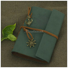 Portable Nautical Retro Notebook Refillable Blank Books Personalized Diary Green