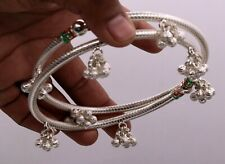 Fine Silver Antique Design Foot Kada With Gorgeous Hanging Noisy Bells Nsfk08