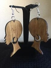 Africa Warrior Woman Brown Afrocentric Wood Earrings