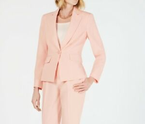 Le Suit Womens Blazer Blossom Pink Size 6 One-Button Crepe Solid $120- 272