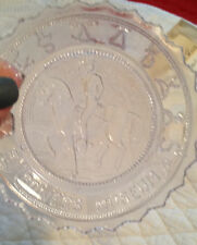 Pairpoint Clear Glass Cup Plate -  Bowers Museum - Horse & Rider - 1981 Vintage