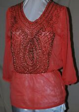 COLLEEN LOPEZ SIMPLY STUNNING CHIFFON BLOUSE WITH GOLD BEADED FRONT TANGERINE M