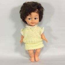 Regal Canada Brunette Doll Pees Rooted Brown Hair Blue 10 inches Vintage