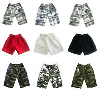 Boys Kids Army Camo Military Combat Multipocket Shorts and Plain Swim Shorts