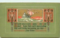 Arts Crafts saying New Year Sailship postcard 879