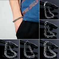 New Silver Men's Punk Stainless Steel Chain Link Bracelet Bangle Fashion Jewelry
