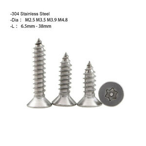 M2.9~M4.8 Countersunk Torx Pin Self Tapping Security Screws A2 Stainless Steel