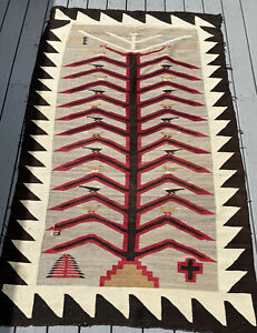 """Gorgeous Antique Huge Native Navajo Rug Birds on Tree of Life 50"""" W x 82"""" L"""