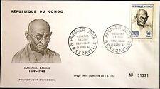 KONGO BRAZZAVILLE 1967 126 160 Mahathma Gandhi Hindu natl. Leader FDC